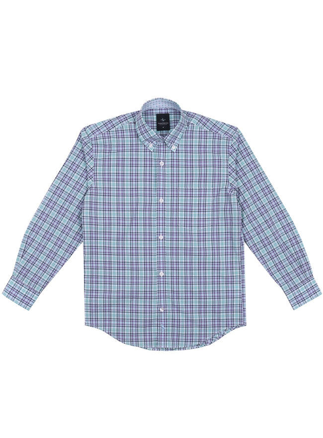 Purple and Green Plaid Boys Long Sleeve Shirt