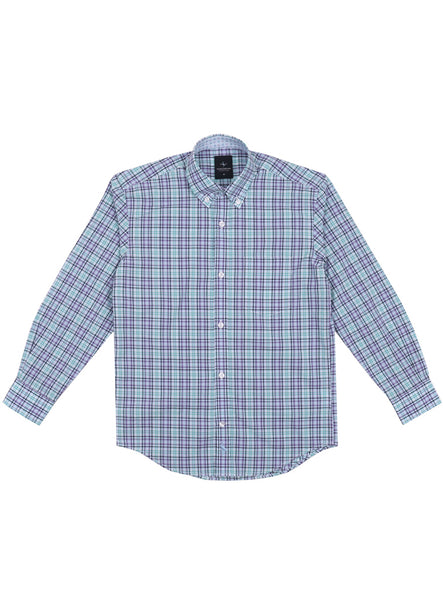Purple and Green Plaid Boys Button-Down Shirt