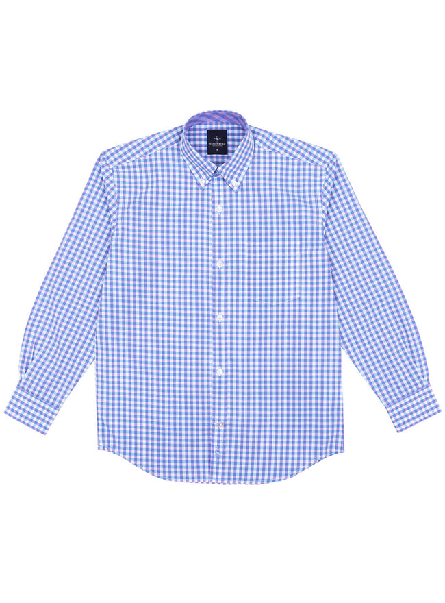 Purple Aqua Gingham Boys Button-Down Shirt