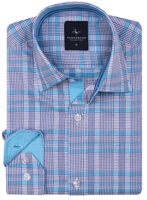 Aqua and Navy Plaid Boys Button-Down Shirt