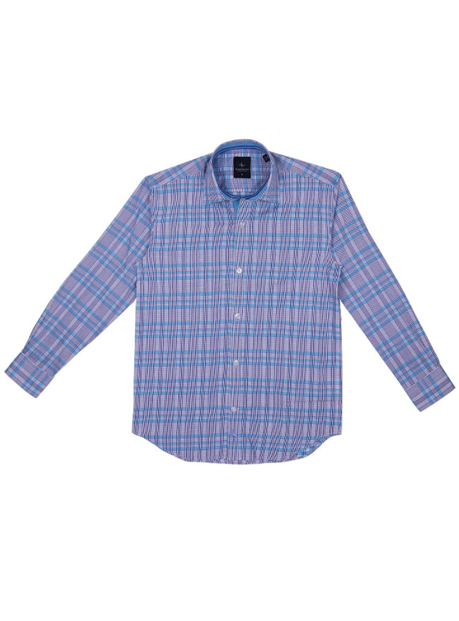 Aqua and Navy Plaid Boys Long Sleeve Shirt