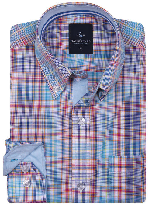 Multi Plaid Boys Button-Down Shirt