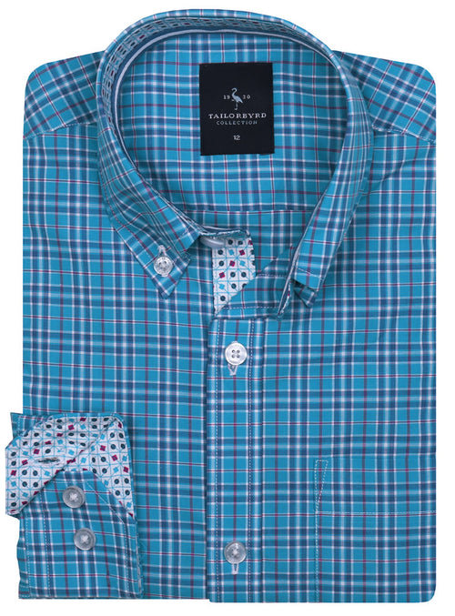 Aqua Plaid Boys Long Sleeve Shirt