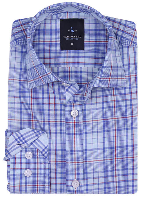 Blue and Red Plaid Boys Button-Down Shirt