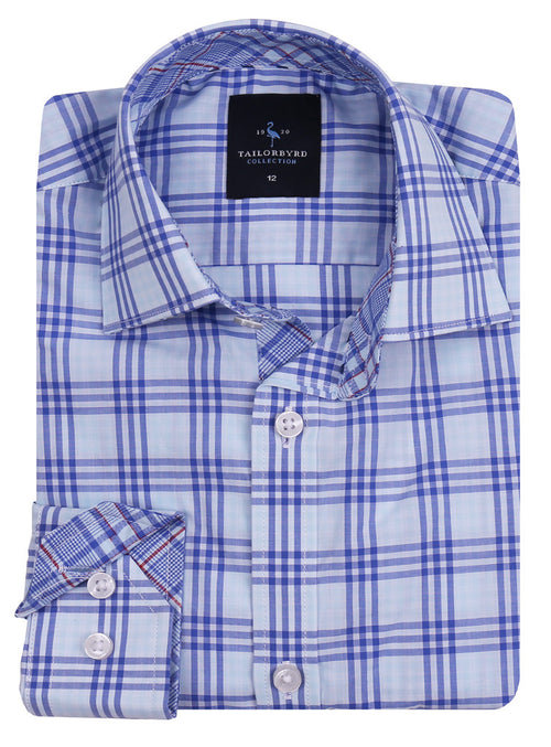 Light Blue Windowpane Boys Long Sleeve Shirt