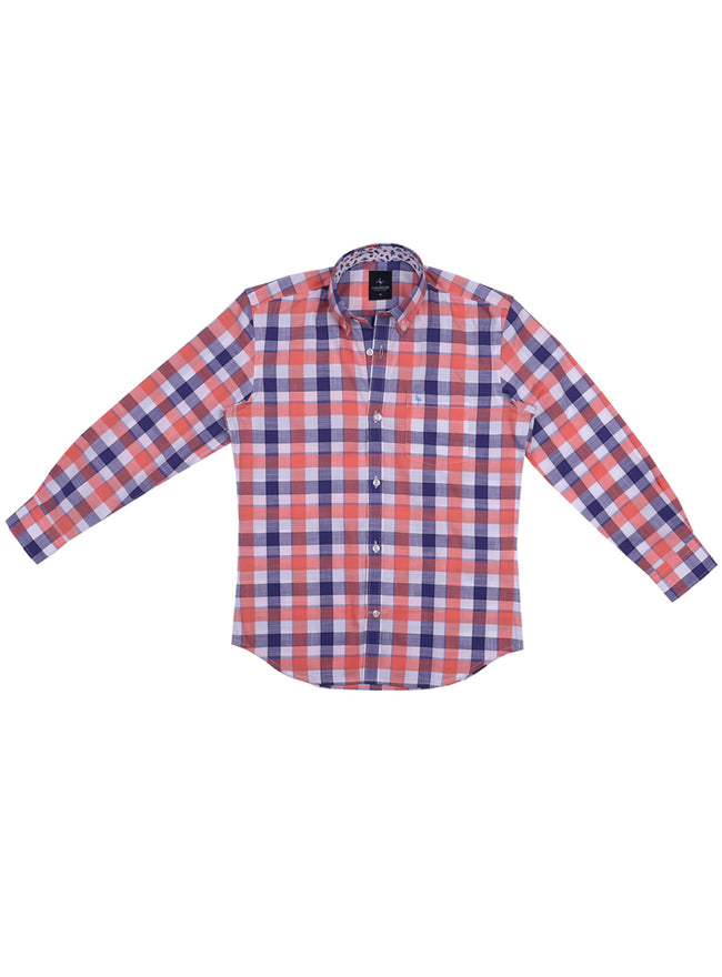 Orange and Navy Big Check Boys Long Sleeve Shirt