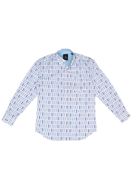 Aqua Pineapple Print Boys Long Sleeve Shirt