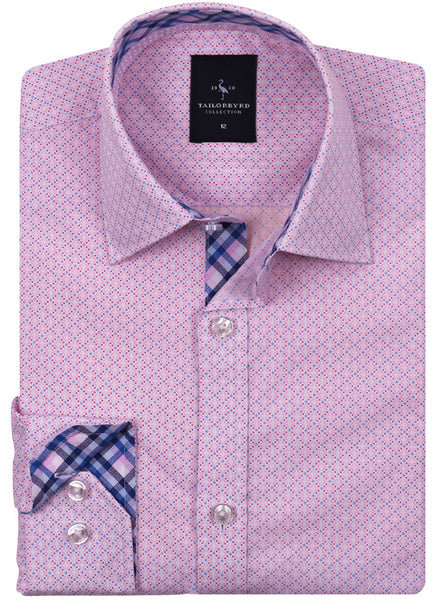 Pink Classic Patterned Boys Long Sleeve Shirt