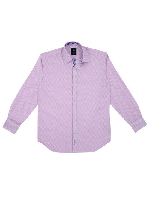 Pink Classic Patterned Boys Button-Down Shirt