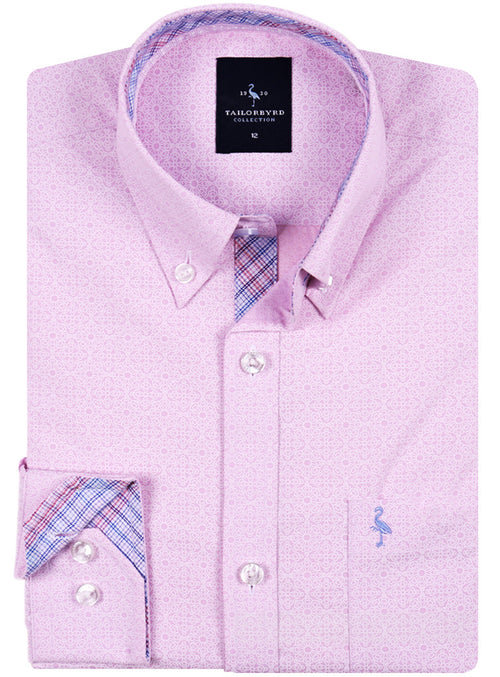 Pink Solid Patterned Boys Long Sleeve Shirt