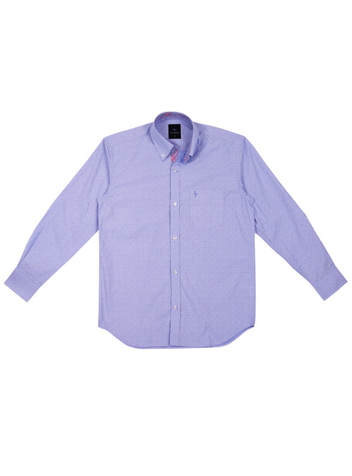 Blue Solid Patterned Boys Button-Down Shirt
