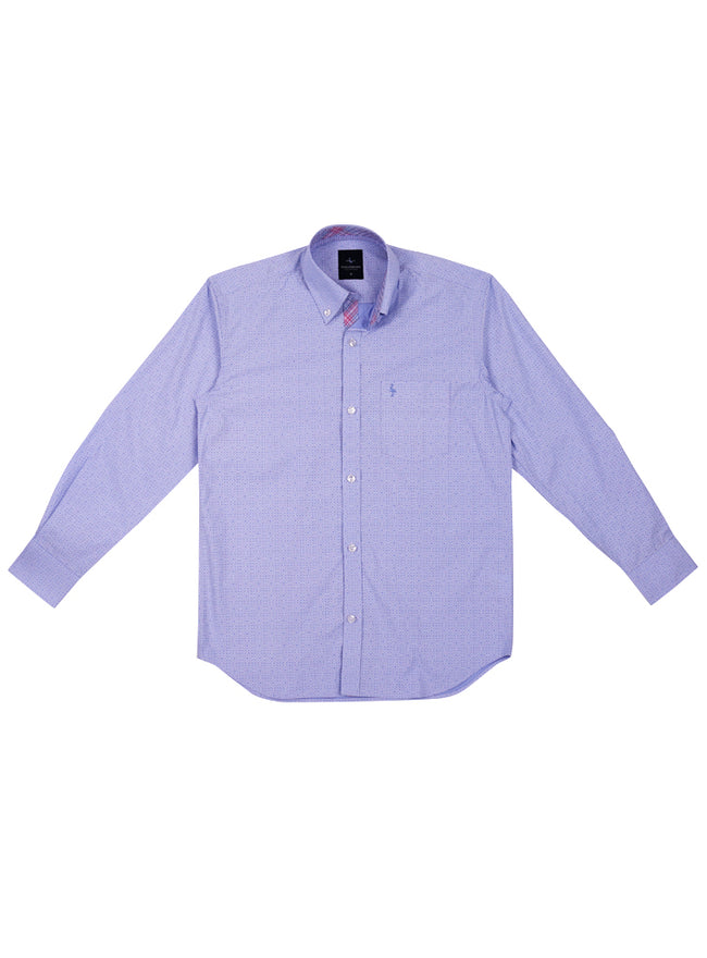 Blue Solid Patterned Boys Long Sleeve Shirt