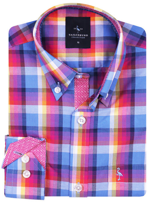 Bright Multi Plaid Boys Button-Down Shirt