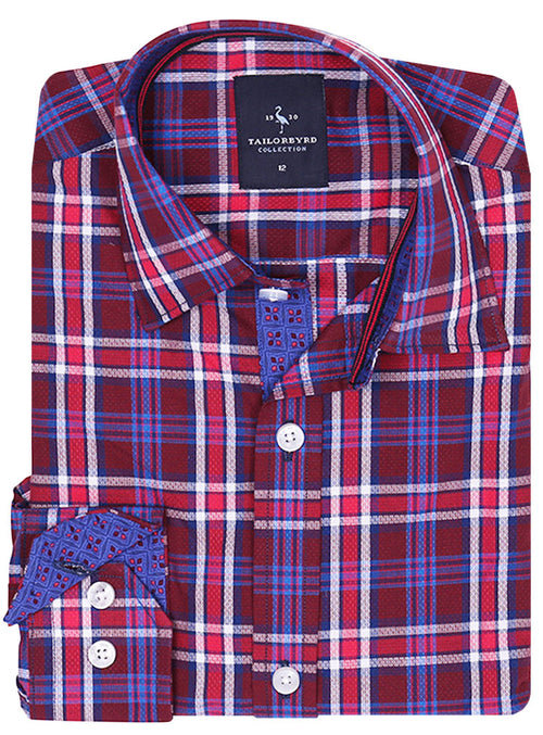 Burgundy Textured Plaid Boys Button-Down Shirt