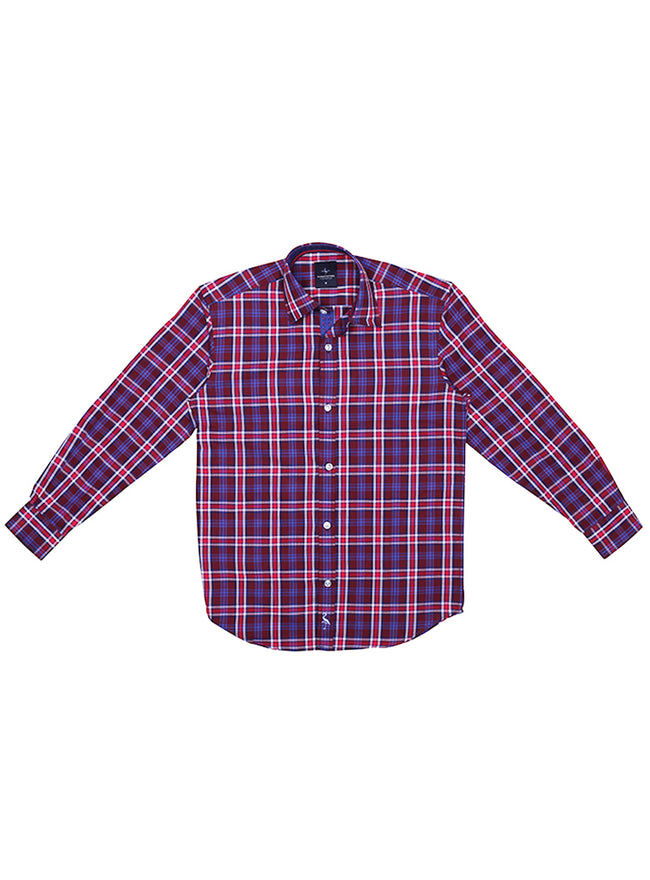 Burgundy Textured Plaid Boys Long Sleeve Shirt