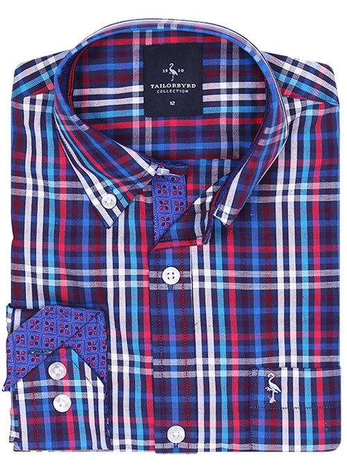Multi Grid Plaid Boys Button-Down Shirt