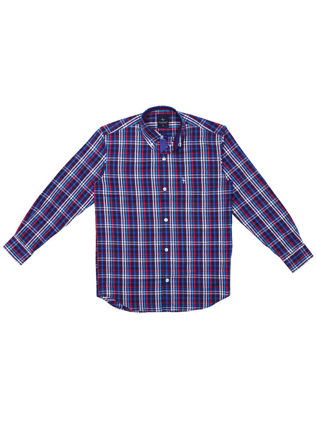 Multi Grid Plaid Boys Long Sleeve Shirt