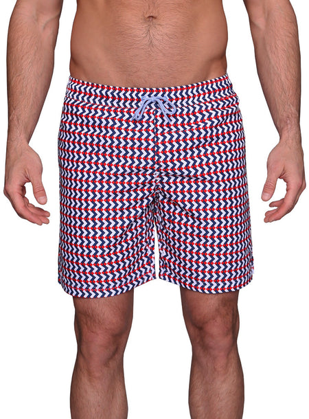 Blue and Red Shark Swim Shorts