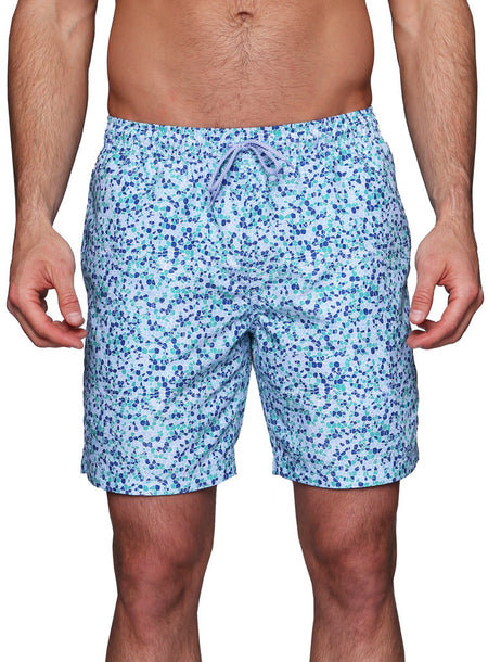 Green and Blue Palm Swim Shorts