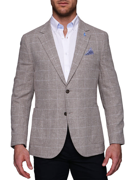 Light Blue Plaid Linen Sport Coat