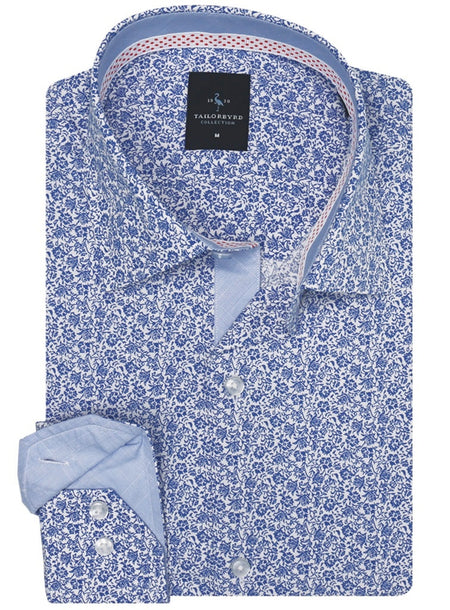 Royal Blue Floral Short Sleeve Button-Down Shirt