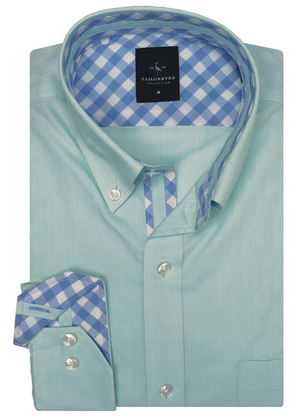 Blue Solid Trim Fit Button-Down Shirt