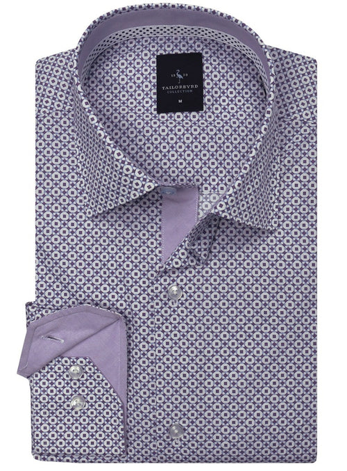 Purple and Blue Print Button-Down Shirt