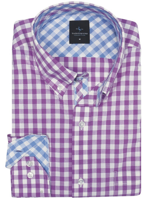 Light Purple Gingham Button-Down Shirt