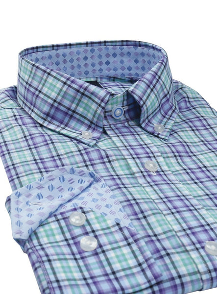 Light Blue and Purple Plaid Button-Down Shirt