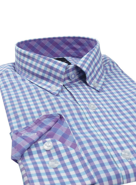 Purple and Aqua Gingham Button-Down Shirt
