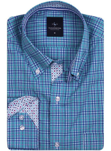 Bright Blue and Green Button-Down Shirt