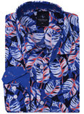 Blue Palm Print Long Sleeve Shirt