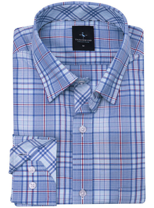 Blue and Red Plaid Button-Down Shirt