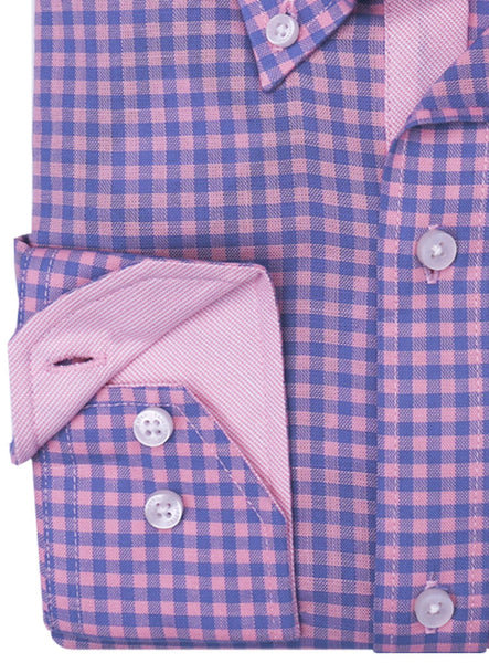 Pink and Blue Gingham Button-Down Shirt