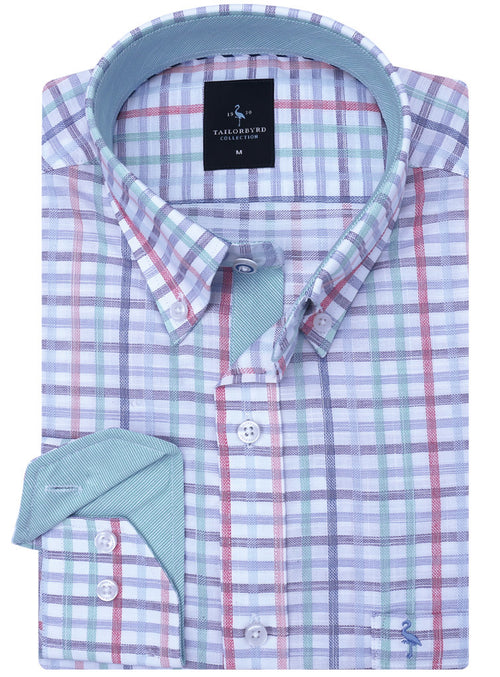 Multi Plaid Lightweight Button-Down Shirt