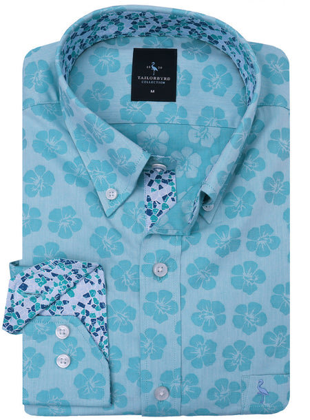 Aqua Floral Print Button-Down Shirt