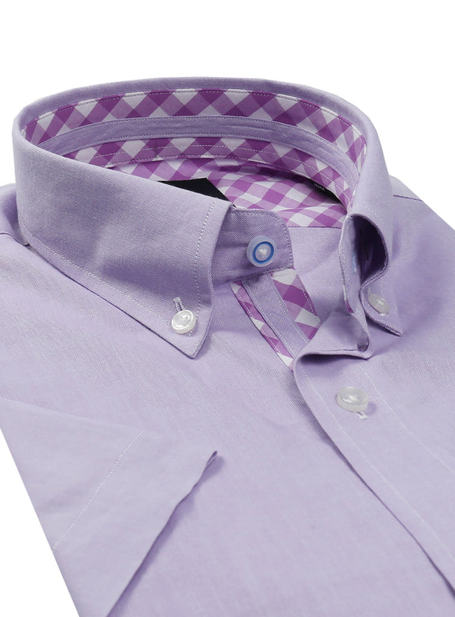 Purple Solid Short Sleeve Button-Down Shirt