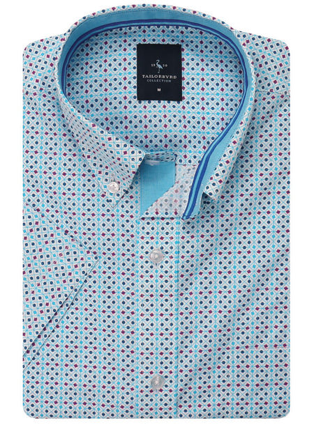 Aqua Mini Gingham Button-Down Short Sleeve Shirt