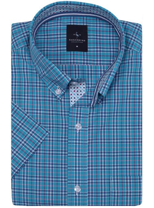 Aqua Plaid Short Sleeve Shirt