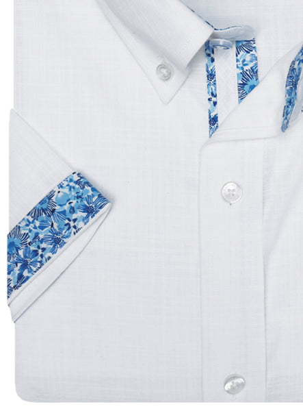 White Solid Short Sleeve Button-Down Shirt