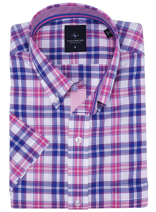 Fuchsia Plaid Short Sleeve Button-Down Shirt