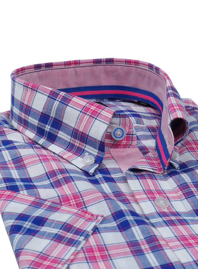 Fuchsia Plaid Short Sleeve Shirt