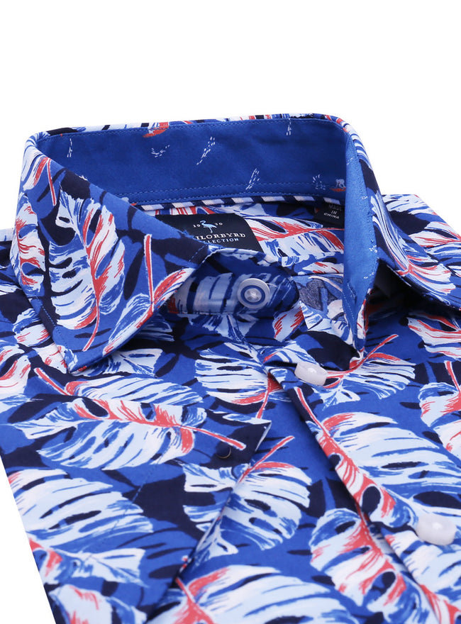 Blue Palm Print Short Sleeve Shirt