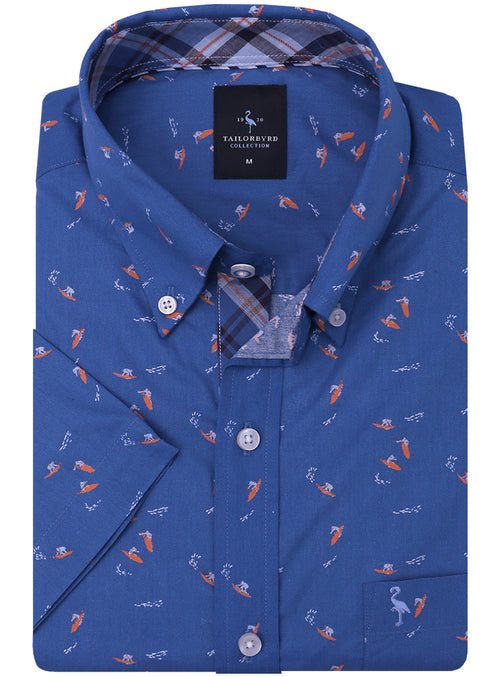 Blue Surfer Print Short Sleeve Shirt