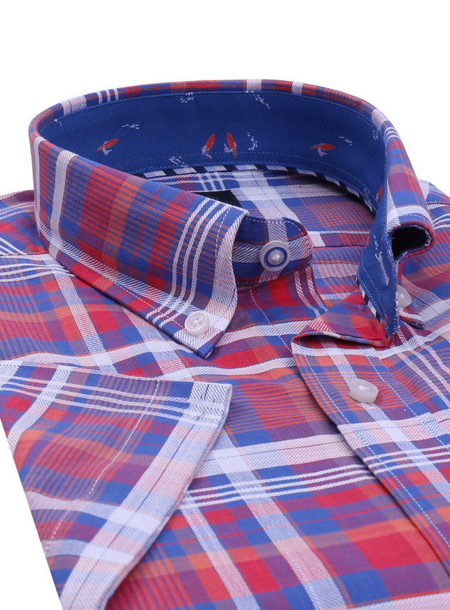 Red and Blue Plaid Short Sleeve Shirt