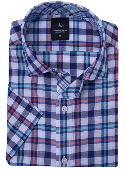 Orange and Blue Plaid Short Sleeve Button-Down Shirt