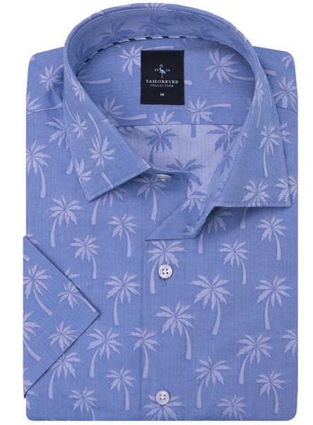 Blue Palm Tree Print Short Sleeve  Shirt