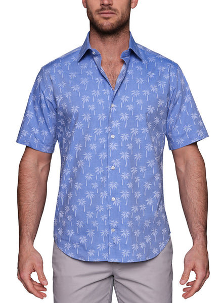 Blue Palm Tree Short Sleeve Button-Down Shirt