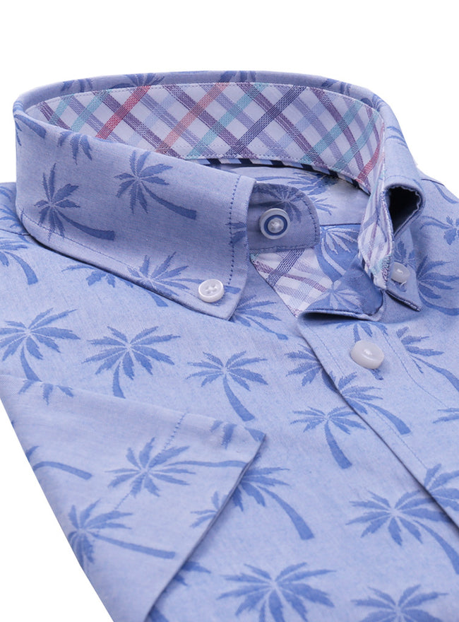 Light Blue Palm Tree Short Sleeve Button-Down Shirt