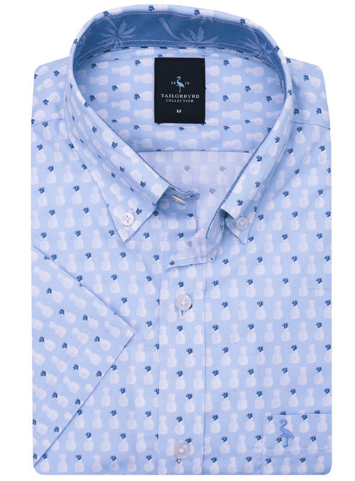 Light Blue Pineapple Short Sleeve Button-Down Shirt